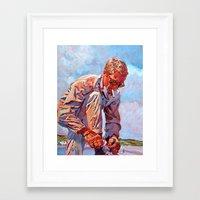 steve mcqueen Framed Art Prints featuring Steve McQueen Cool by David Lloyd Glover