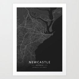 Newcastle, Australia - Dark Map Art Print