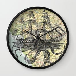 Octopus Attacks Ship on map background Wall Clock