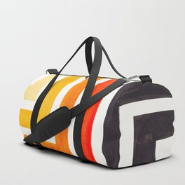Orange Minimalist Inca Geometric Mid Century Modern Watercolor Pattern Maze Duffle Bag