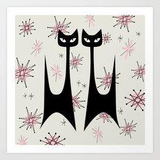 MID-CENTURY ATOMIC PINK CATS Art Print