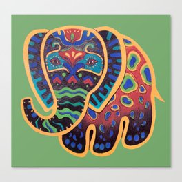 Abstract Folk Art Indian Elephant Canvas Print