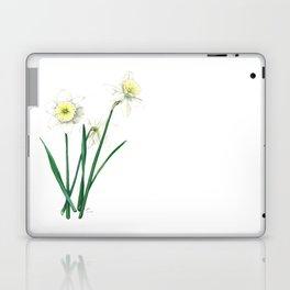 White Daffodils - 'Ice Follies' Botanical Illustration Laptop & iPad Skin