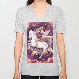 Andora: Drag Queen Riding a Unicorn Unisex V-Neck