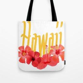 Hawaii Text With Aloha Hibiscus Garland Tote Bag