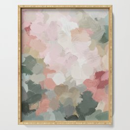 Forest Green Fuchsia Blush Pink Abstract Flower Spring Painting Art Serving Tray
