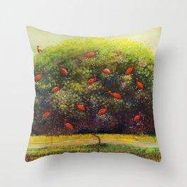 Tree Of Scarlet Ibis Throw Pillow