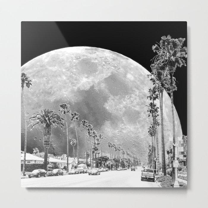 California Dream // Moon Black and White Palm Tree Fantasy Art Print Metal Print