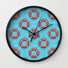 Lifebuoy on blue water pattern Wall Clock