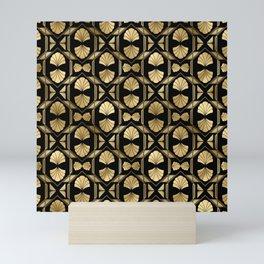 Scallop Shells in Black and Gold Art Deco Vintage Foil Pattern Mini Art Print