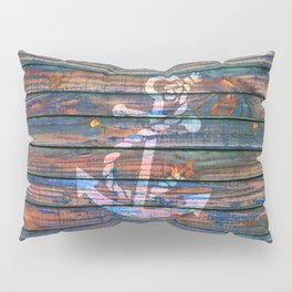 Nautical blue pink watercolor rustic wood white anchor Pillow Sham