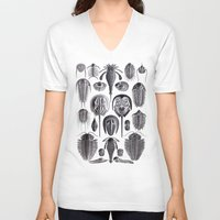 geology V-neck T-shirts featuring Trilobites and Fossils by Ernst Haeckel by Yak Lab