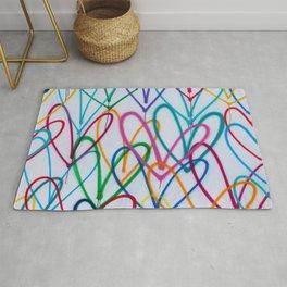 Multicoloured Love Hearts Graffiti Repeat Pattern Rug