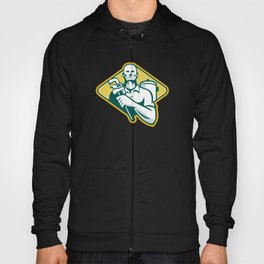 Plumber with Wrench and Hot Water Cylinder Retro Hoody