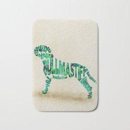 Bullmastiff Typography Art / Watercolor Painting Bath Mat