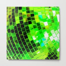 Funky Green Disco Ball Metal Print