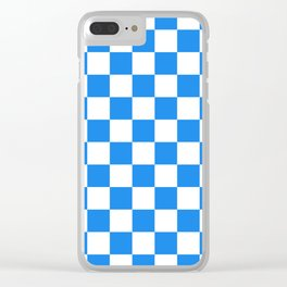 Checkered - White and Dodger Blue Clear iPhone Case