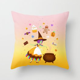 Sweet Candy Witch Throw Pillow
