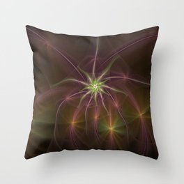 Red stars fractal picture on the dark background Throw Pillow
