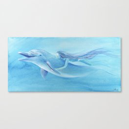 Blue Dolphin With Girl Transforming Into Mermaid Canvas Print