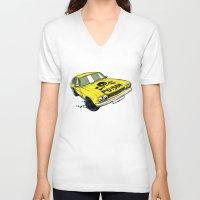ford V-neck T-shirts featuring Ford Capri by Ricardo Reis Illustration