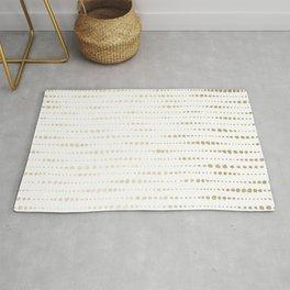 Modern Gold Polka Dot Stripes Rug