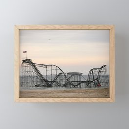 Jet Star Roller Coaster in Ocean After Hurricane Sandy Framed Mini Art Print