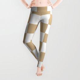 Checkered - White and Tan Brown Leggings
