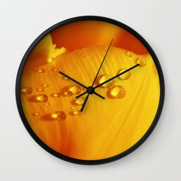 Yellow tulip with drops 241 Wall Clock