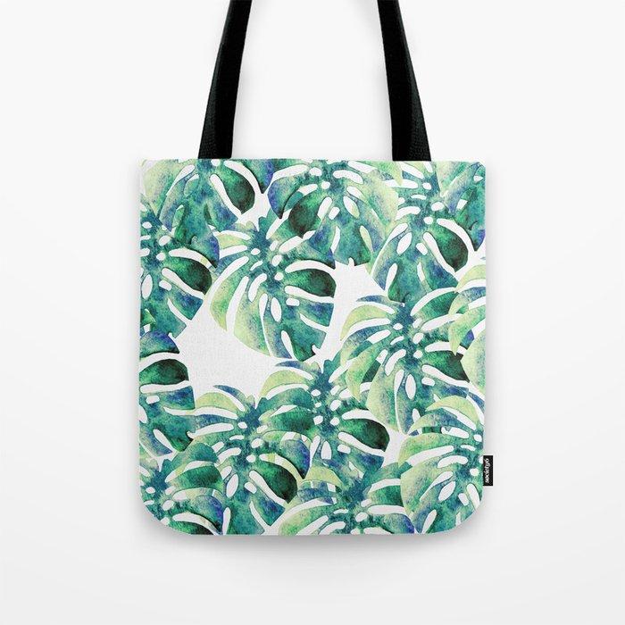 Monstera Pattern Green Tote Bag