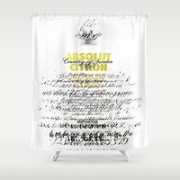 vodka Shower Curtains featuring Graphic Vodka  by MarianaLage