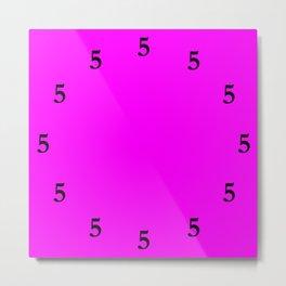Black Five o'Clock Somewhere on Pink Metal Print