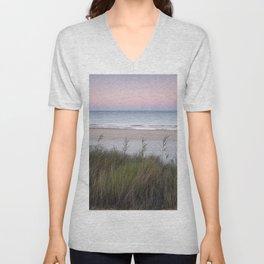 Serenity beach. Sunrise at the dunes. Unisex V-Neck