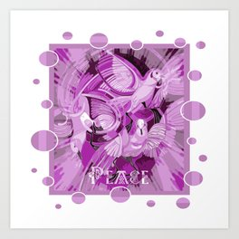 Dove With Celtic Peace Text In Pink Purple Tones Art Print