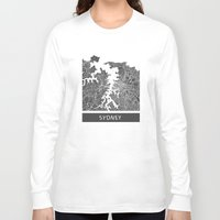 sydney Long Sleeve T-shirts featuring Sydney map by Map Map Maps