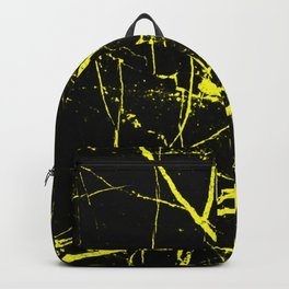 Yellow Marble Pattern - Abstract, black and yellow Backpack