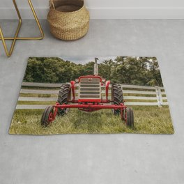 IH 240 Red International Farmall Tractor Front View Rug