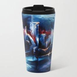 """City Lights"" Painting Metal Travel Mug"
