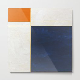 Orange, Blue And White With Golden Lines Abstract Painting Metal Print