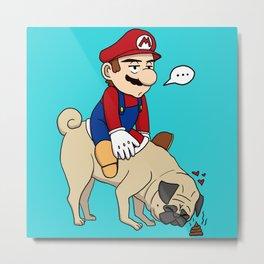 Super Mario Pug Yoshi Metal Print