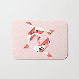 Tangram Koi - Pink background Bath Mat