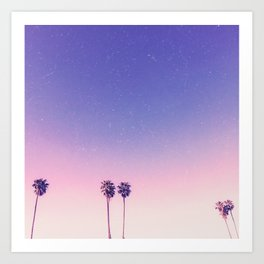 Peachy Purple Palms Art Print
