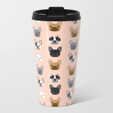 French Bulldog portraits pattern dog person gift love animal pet puppy frenchie bulldog portrait Metal Travel Mug