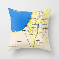 israel Throw Pillows featuring Israel Map design by Efratul