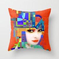 nouveau Throw Pillows featuring Nouveau Girl 2 by Steve W Schwartz Art