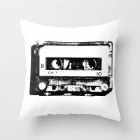 cassette Throw Pillows featuring cassette by Gabriel