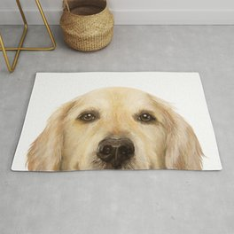Golden retriever Dog illustration original painting print Rug