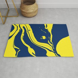 Navy and Sunflower Yellow Marble Rug