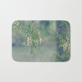 White Spring Blossoms Bath Mat