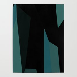 teal and black abstract Poster